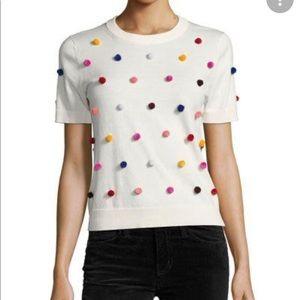 Kate Spade Cotton Cashmere Pom Pom Sweater